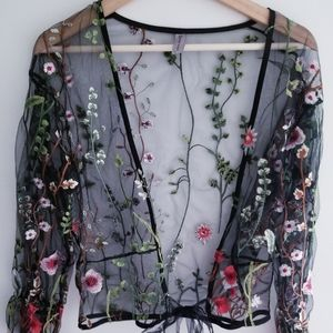 Embroidered Floral Cover Up